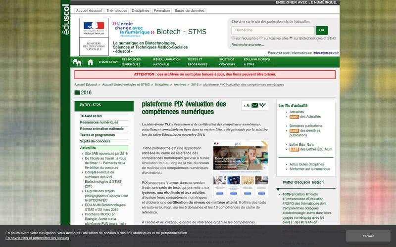 Eduscol : plateforme PIX évaluation des compétences numériques